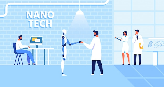 Cartoon nano tech lab met werkende wetenschappers