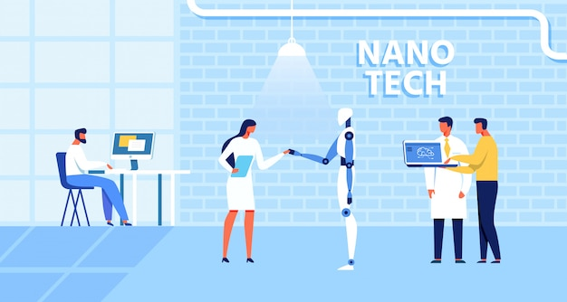 Cartoon nano tech research center voor ai creation