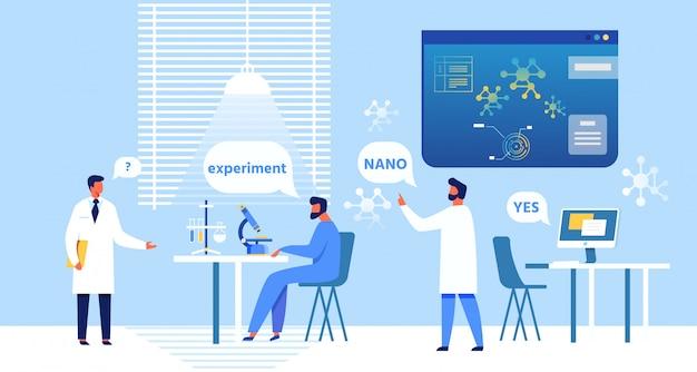 Cartoon nanomedische deskundigen bespreken experiment.