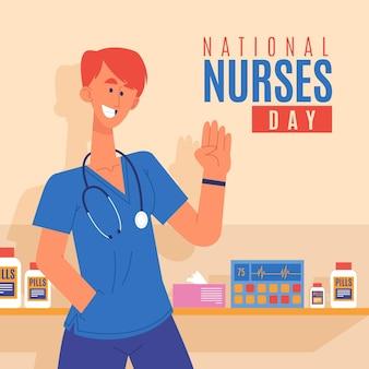 Cartoon nationale verpleegsters dag illustratie