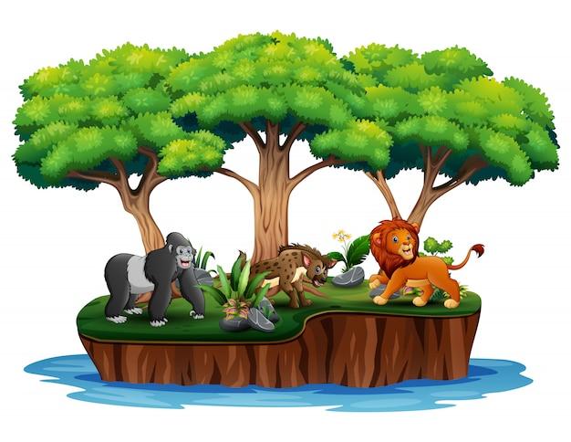 Cartoon natuur eiland met wilde dieren