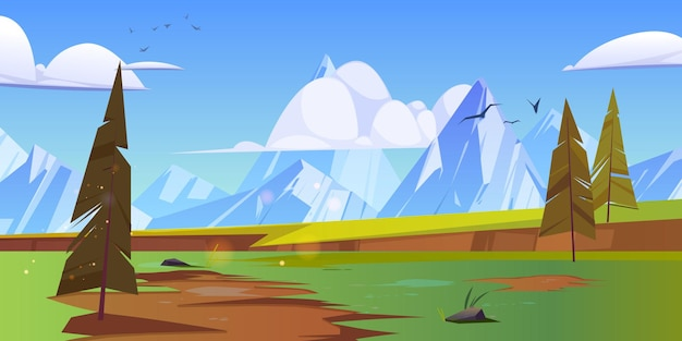 Cartoon natuur landschap met bergtoppen.