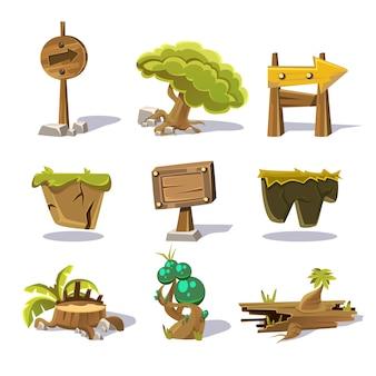 Cartoon natuurelementen, objecten op witte achtergrond