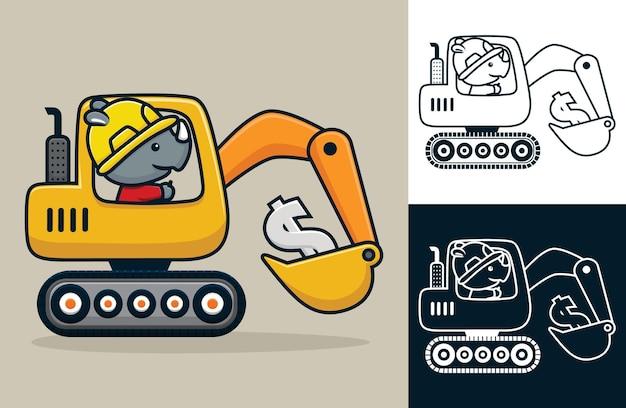 Cartoon neushoorn met arbeidershelm die bouwvoertuig drijft