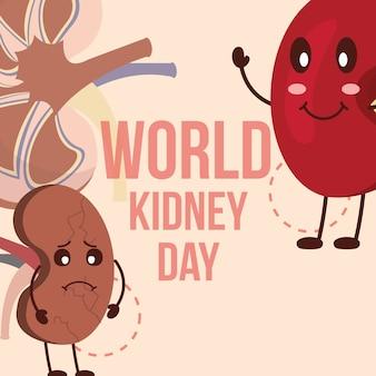 Cartoon nieren tekens wereld nier dag