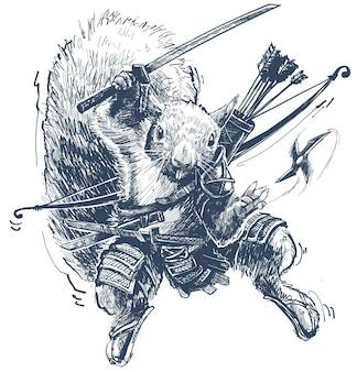Cartoon ninja krijger eekhoorn met pijl en boog die samoeraizwaard vasthoudt en shuriken gooit. vector op witte achtergrond.