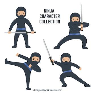 Cartoon ninjakarakter in verschillende poses