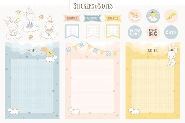 Cartoon notebookpagina's, stickers voor planners. schattige konijntjeskarakters