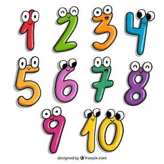 Cartoon nummerinzameling met karakters