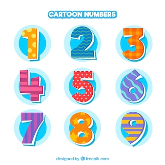Cartoon nummerinzameling met kleurrijke stijl Gratis Vector