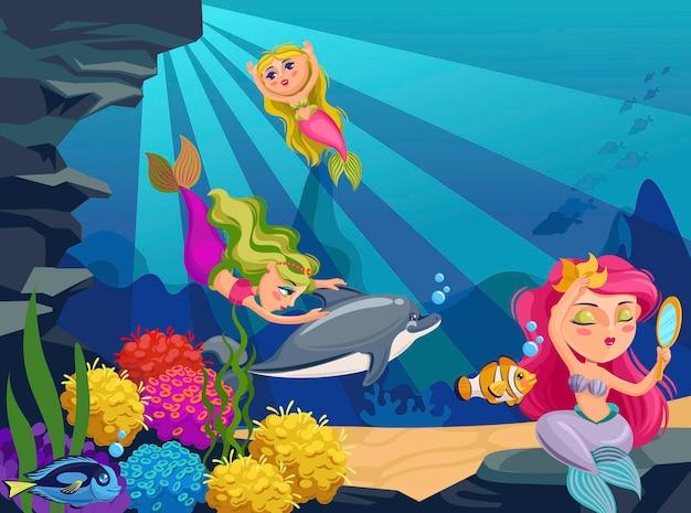 Cartoon oceaan diepe wereld met vissen, zeewier en schattige zeemeerminnen en dolfijnen