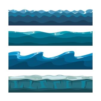 Cartoon oceaan of zee golven vector patronen