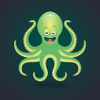 Cartoon octopus illustratie. op donker.
