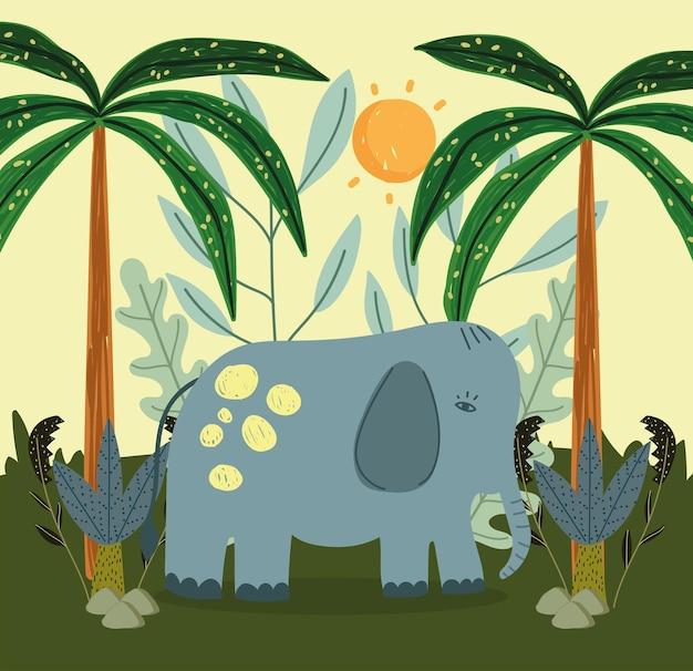 Cartoon olifant in de jungle