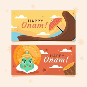 Cartoon onam banners set