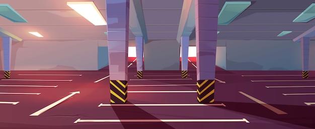 Cartoon ondergrondse parkeergarage