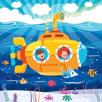 Cartoon onderzeeër onder de zee