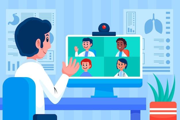 Cartoon online medische conferentie illustratie