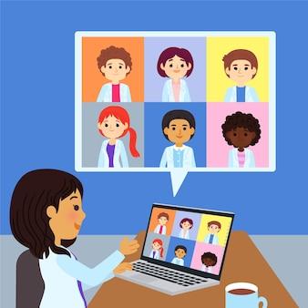 Cartoon online medische conferentie