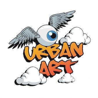 Cartoon oog met vleugels en wolken Premium Vector