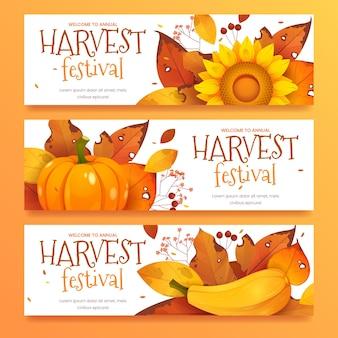 Cartoon oogstfeest collectie horizontale banner
