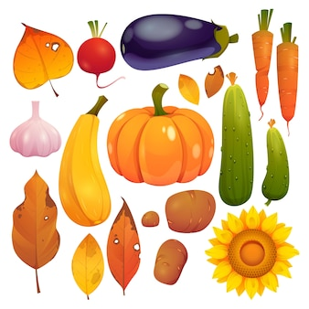 Cartoon oogstfeest collectie illustratie