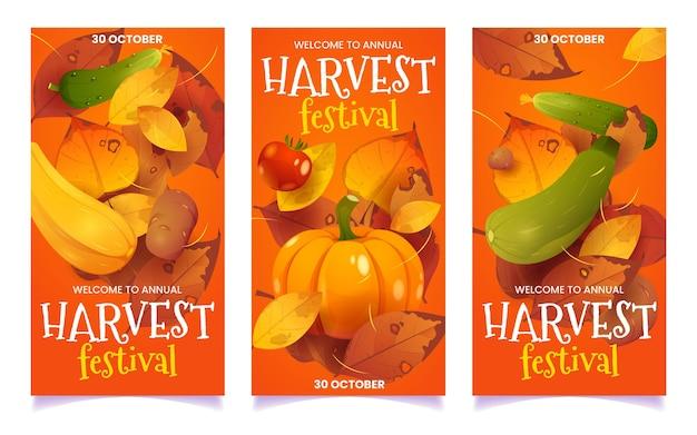 Cartoon oogstfeest collectie verticale banner