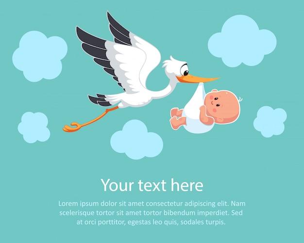 Cartoon ooievaar in lucht met baby. ontwerpsjabloon. felicitaties aan de pasgeborene. illustratie in vlakke stijl.