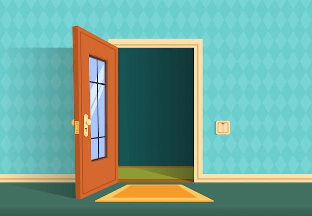 Cartoon open deur. entree appartement hal, kantoor lobby.