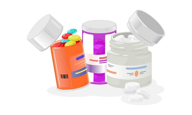 Cartoon open flessen met pillen set