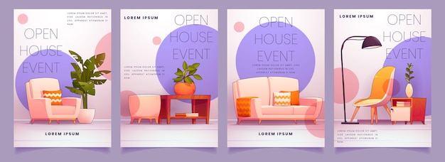 Cartoon open huis flyer ontwerpen