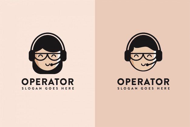 Cartoon operator assistent logo