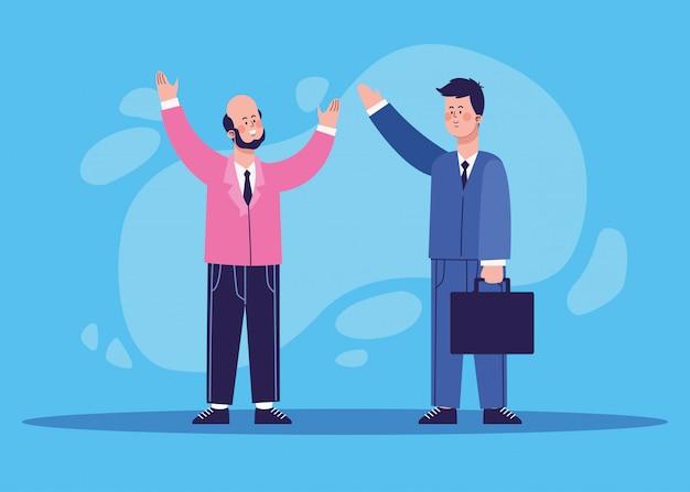 Cartoon opgewonden man en zakenman die een portefeuille