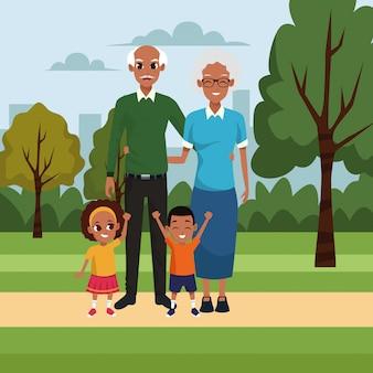 Cartoon oud echtpaar met kinderen