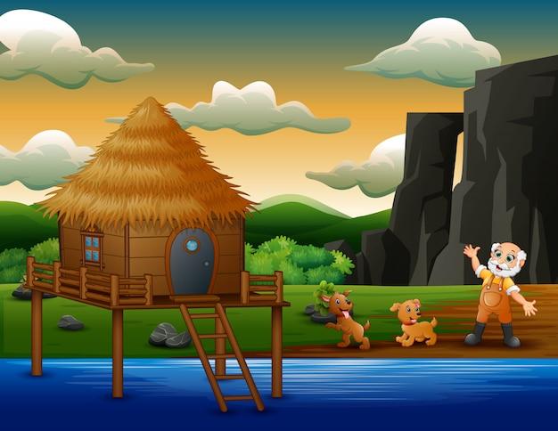 Cartoon oude boer met zijn honden aan de rivier
