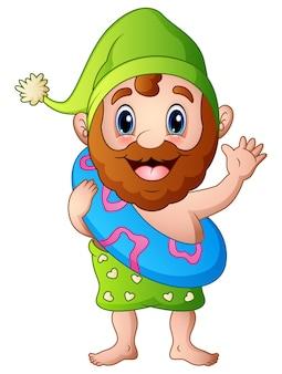 Cartoon oude man in een groene hoed met binnenband