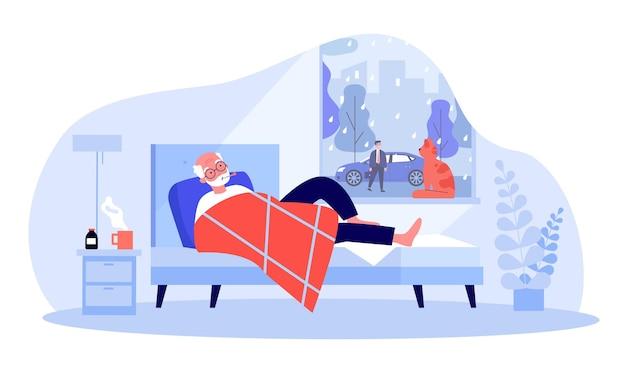 Cartoon oude man met koorts in bed liggen.