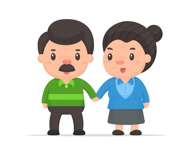 Cartoon oude mensen vector. oud echtpaar dat gelukkig leeft na zijn pensioen.