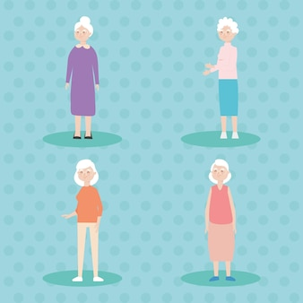 Cartoon oude vrouwen icon set