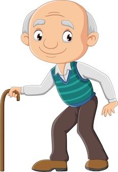 Cartoon oudere man met een stok