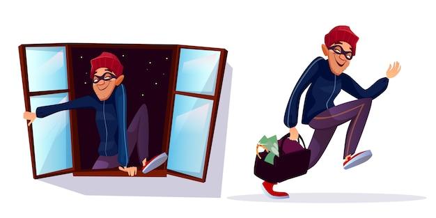 Cartoon overvaller, dief tekens instellen. mannelijke inbreker die met gestolen geld, juwelenzak loopt