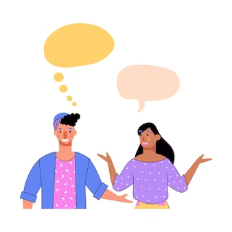 Cartoon paar communicatie sjabloon