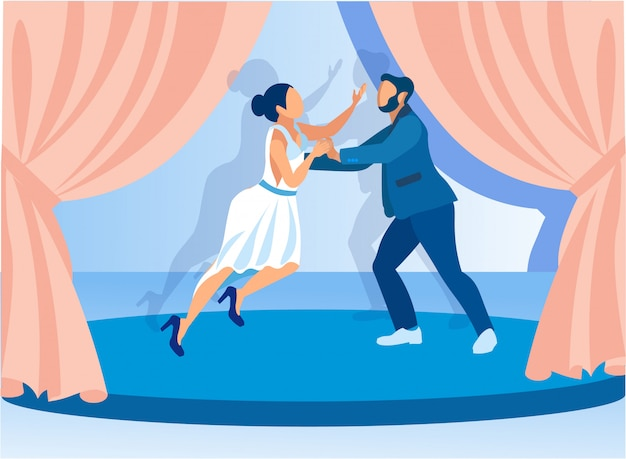 Cartoon paar klassieke dans uitvoeren op het podium