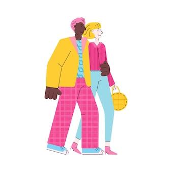 Cartoon paar op romantische wandeling geïsoleerd op witte achtergrond