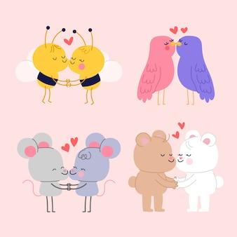 Cartoon paar zoenen en tijd samen doorbrengen