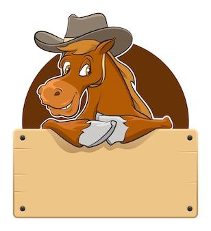 Cartoon paard met houten plank