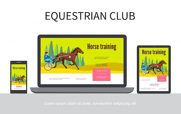 Cartoon paardensport adaptieve ontwerp websjabloon met jockey rijpaard in strijdwagen op laptop mobiele tablet schermen geïsoleerd