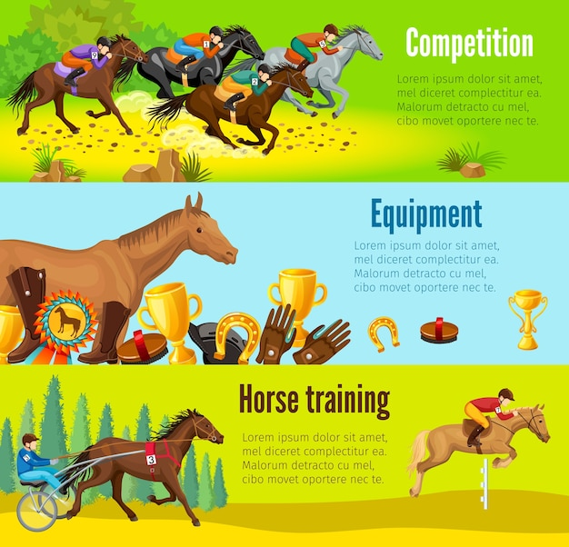 Cartoon paardensport horizontale banners