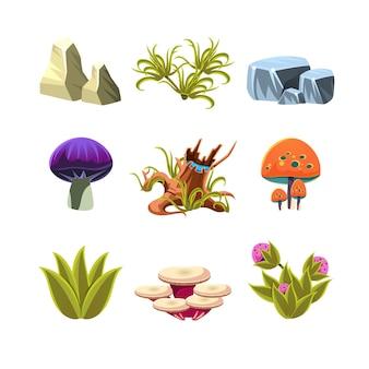 Cartoon paddestoelen, stenen en struiken instellen vectorillustratie