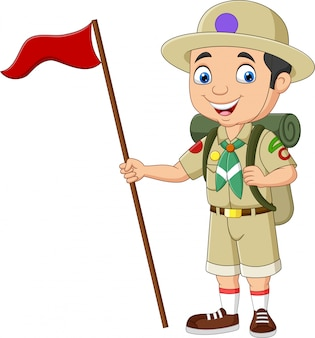Cartoon padvinder bedrijf rode vlag